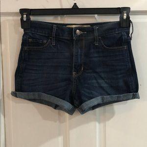 Dark wash, high rise shorts